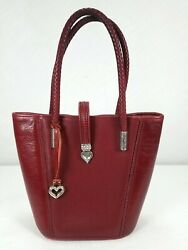 Brighton Red Silver Leather Satchel Bag Shoulder Crossbody Braided Tote $47.99
