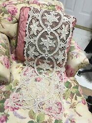 Chic Antique French Needlepoint Lace Textile Creamy Ecru Ornate Flowers 40andrdquo