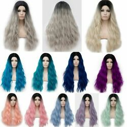 Anime Long Heat Resistant Hair Curly Party Lolita Ombre Cosplay Wig+Free Cap USA
