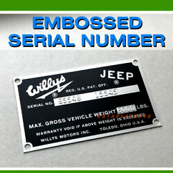 Willys Jeep Fc-150 170 Data Serial Number Plate Station Wagon Pick Up Tag