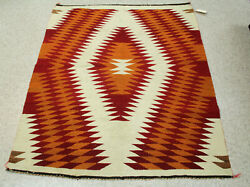 Antique Navajo Transitional Blanket With Serrated Diamonds 49 X 40 C.1890s