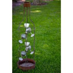 Alpine Corporation Tall Bottle Shaped Fountain Metal Tiering Wine Glasses Brown