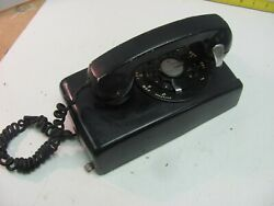 Vintage 1950s Western Electric A/b 554 3-60 Black Rotary Dial Wall Mount Phone