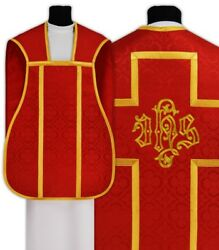 Red Fiddleback Roman Chasuble With Stole Ihs Rh4-c25 Vestment Casulla Roja