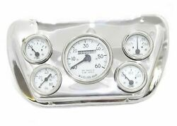 Panel Dash Gauge Instrument Cluster+chrome Mounting Plate For Willys Jeeps Ecs
