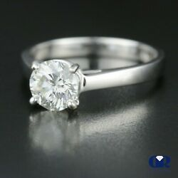 1.04 Ct Round Cut Diamond Solitaire Engagement Ring 4 Prong 14k White Gold