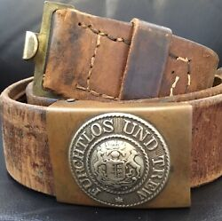 Imperial German Ww1 Kingdom Of Wurttemberg Enlisted Manand039s Belt And Brass Buckle