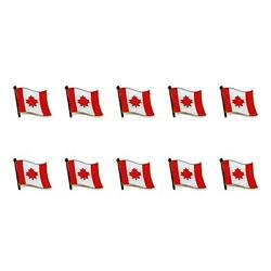 Lot Of 10 Canadian Flag Lapel Pin 0.5 Canada Maple Leaf Pinback Hat Tie Badge