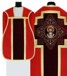 Red Fiddleback Roman Chasuble With Stole Lent Rh10-ac25 Vestment Casulla Roja