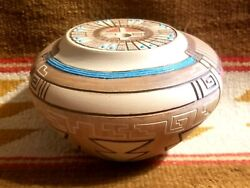 Super Rare Tom Polacca Hopi Native American Pottery Incised Seed Pot W Turquoise