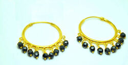 22k Yellow Gold Black Onyx Stone Earrings Dangling Indian Antique Style Hoop