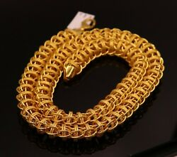 22 K YELLOW GOLD HANDMADE UNISEX LINK CHAIN BEST HEAVY LOOK CHAIN NECKLACE GIFT