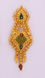 22k Gold Stud Earring Dangling Chain Motherand039s Day Indian Antique Style Jewelry