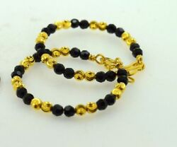 22k Yellow Gold Black Onyx Plain Baby Children Bangle Bracelet Rajasthan Ind