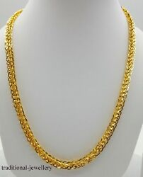 22k Yellow Gold Hollow Chain Necklace 5 Mm Foxtail Design Traditional Jewellery