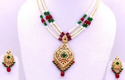 22ct 22k Bridal Yellow Gold Pearls Ruby Emerald Set Necklace Eid Special Gift
