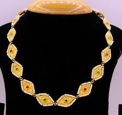 Authentic 22 K Yellow Gold Traditional Necklace Chain With Pearl Eid Festival