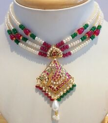Ruby Emerald Pearls 22k Yellow Gold Authentic Necklace Set Indian Tribal Design