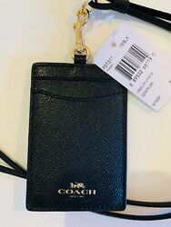Coach F57311 Lanyard ID Holder Badge Card Case Leather Black $68