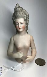 """5"""" Antique German Porcelain Half Gray Hair 1/2 Doll Nude 3580 Jointed Arms Cc"""