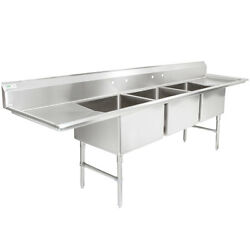 124 3 Compartment Stainless Steel Commercial Pot And Pan Sink With 2 Drainboards
