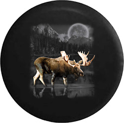Spare Tire Cover Moose Walking In Lake Full Moon Jk Accessories