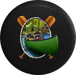 Spare Tire Cover Raccoon In Canoe Camping At River Lake Edge Jk Accessories