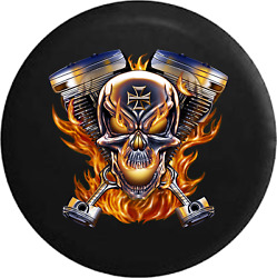 Spare Tire Cover Flaming Pistons Racing Skull Motorcycle Flames Jk Accessories