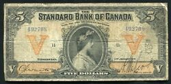 1919 5 The Standard Bank Of Canada Toronto, On Banknote Ch. 695-18-10 Rare