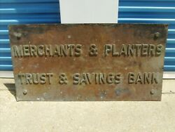Merchants And Planters Antique Bronze Brass Large Building Sign Early 1900and039s Bank