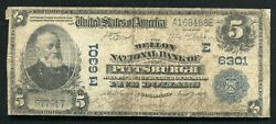 1902 5 The Mellon National Bank Of Pittsburgh, Pa National Currency Ch. 6301