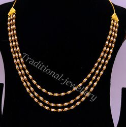 22k Yellow Gold Chain Necklace With Real Pearl 3 Line Layer Necklace Wedding Set