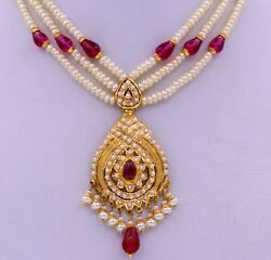 Eid Gift Special 22ct 22k Bridal Yellow Gold Pearls Ruby Emerald Set Necklace