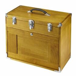 Deluxe Wooden Tool Chest W/ Eight Drawers And Lock