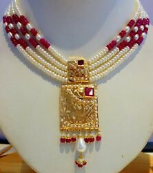 Gold Pearls Ruby Set Necklace Set Indian Bollywood Purity 22k Yellow Gold