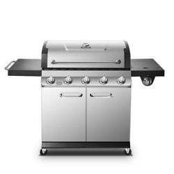 Dyna-glo Propane Gas Grill Cast Iron Grates Stainless Steel Side Burner Piezo