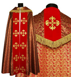 Red Gothic Cope With Stole K559-ac41f Vestment Capa Pluvial Roja Piviale Rosso