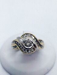 Vintage 10k Solid Two Tone Gold Diamond Engagement Ring .70 Carats