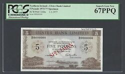 Northern Ireland 5 Pounds 1-3-1977 P326bs Specimen Uncirculated