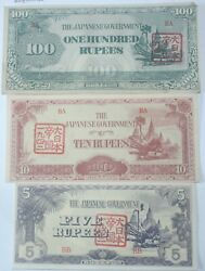 3 X Ww2 Japanese Invasion Of Burma Banknote. 5/10/100 Rupees. Unique Stamps.