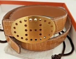 Hermes Alligator/crocodile Belt W/ Gold Buckle Size 75 Excellent Condition 4500