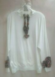 Vintage Char Mel Designs matching handmade pullover top necklace and earrings XL