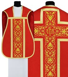 Red Fiddleback Roman Chasuble With Stole R518-c25 Vestment Casulla Roja