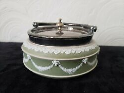 Green Wedgwood Antique Dish With Silverplate Cover And Handle Circa 1891