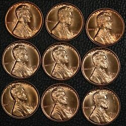 Lot Of 9 1955-d Lincoln Cents All With Errors Bie Etc. Choice To Gem Bu