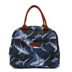 LOKASS Lunch Bag Lunch Box Cooler Bag Insulated Tote Blue Whales New