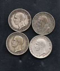 4 Italy Silver Coins 5l 1929 2 19281930