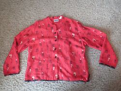 CHICO'S DESIGN Chinese  Asian Characters red Silk top Blouse - Size 2