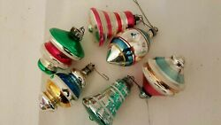 Lot Of 6 Vintage Glass Christmas Ornaments Colorful Bells Etc