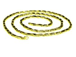 14k Yellow Gold Cylinder Tube Link Men's Chain Necklace 24 35 Grams 3.5 Mm